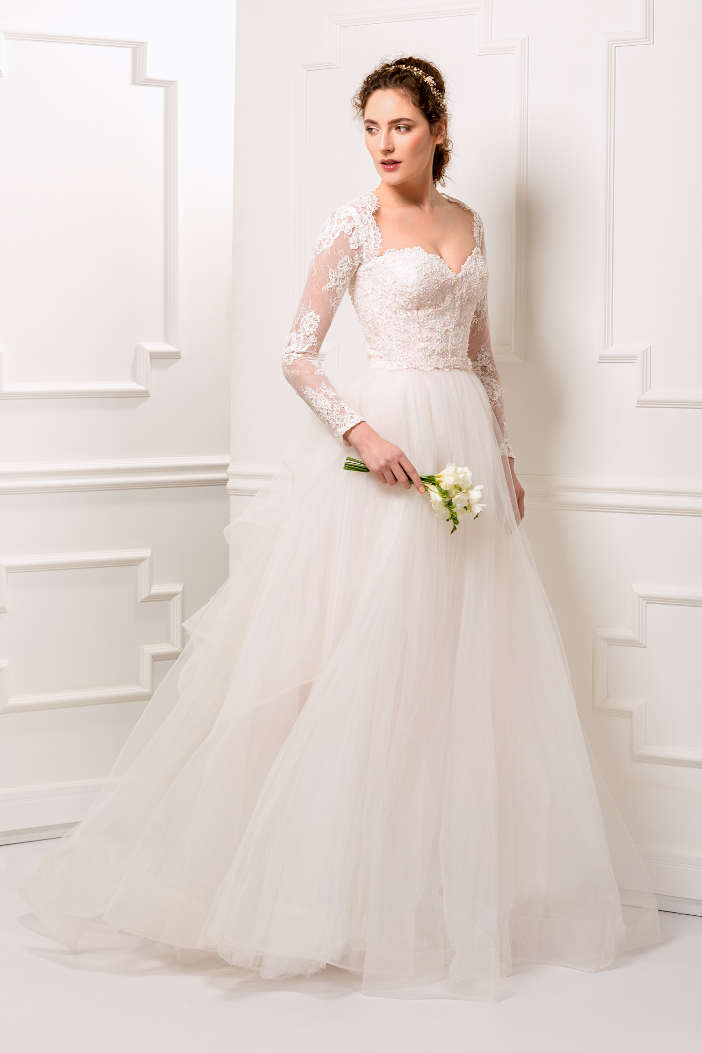 Lace and tulle wedding dress with detachable train and long sleeves ...