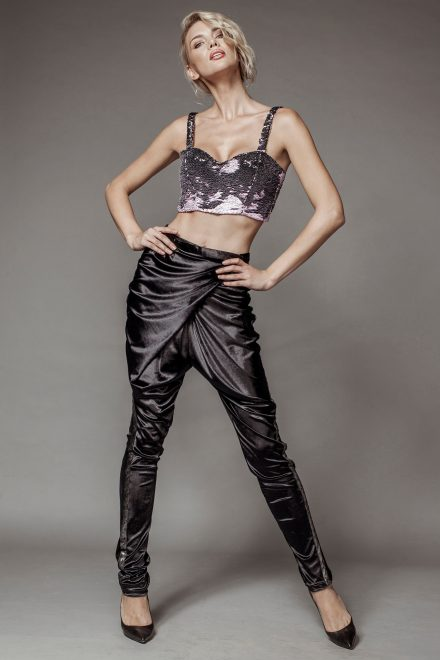 Doubled colored sequins corset and draped velvet pants
