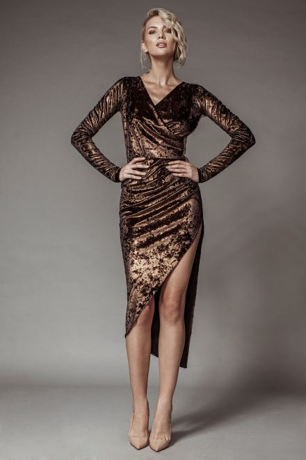 Metallic copper velvet dress with see-through back and lace details