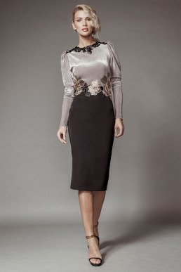 Crepe and velvet dress with hand applied lace details