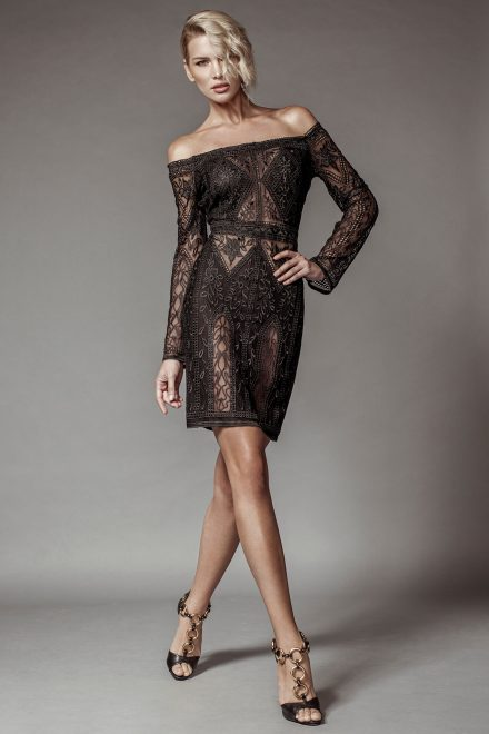 Lace dress with bellshaped sleves and off the shoulders
