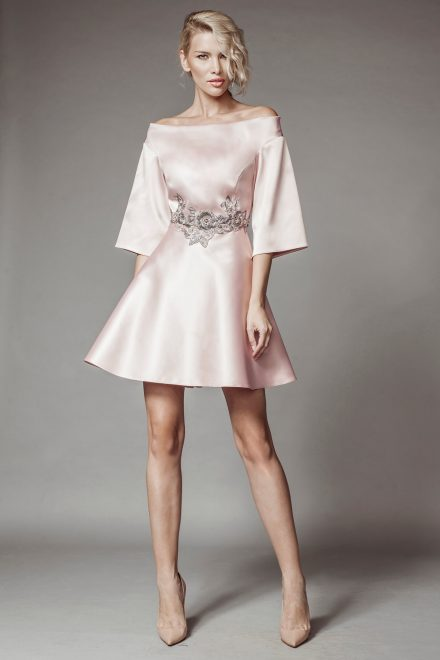 Pink tafta dress with lace details and bell shaped sleeves