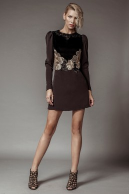Short velvet and lace dress