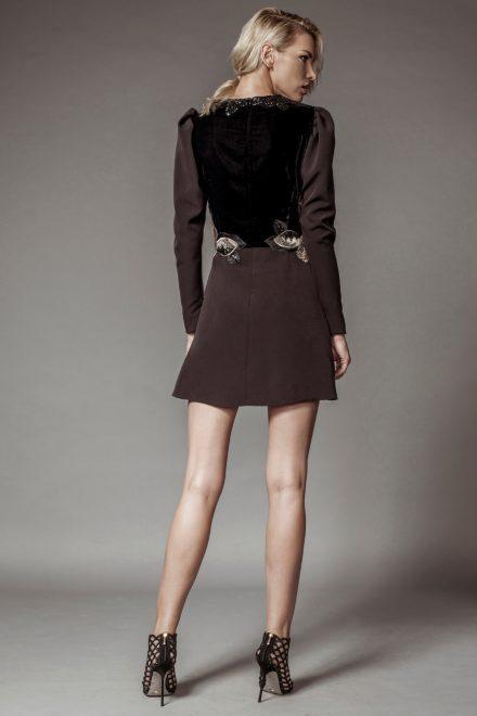Rochie mini cu insertie de catifea si aplicatii de dantela