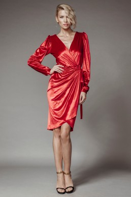 Velvet wrap dress, with beaded details