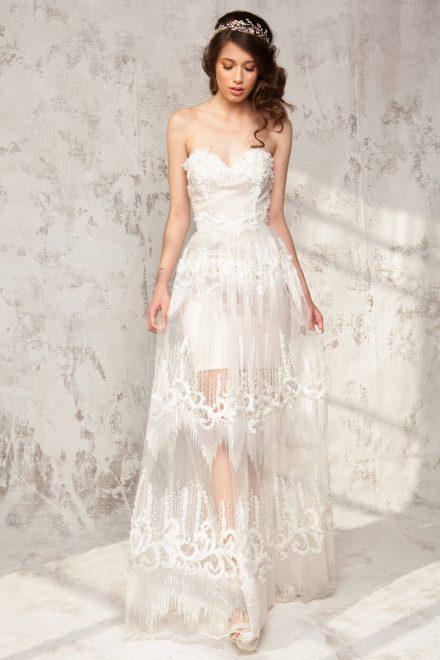 Rochie din dantela, cu corset inimioara si detalii din dantela aplicate manual Sophie - Colectia Dreamcatcher Aida Lorena Atelier