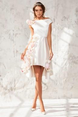 Rochie din tafta cu aplicatii florale supradimensionate Anita - Colectia Dreamcatcher Aida Lorena Atelier