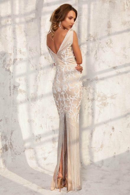 Rochie din tafta elastica, cu aplicatii de margele, perle si franjuri Angelina - Colectia Dreamcatcher Aida Lorena Atelier