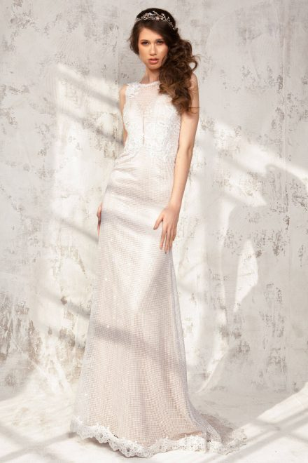 Rochie in A cu corset integrat si aplicatii de dantela Bianca - Colectia Dreamcatcher Aida Lorena Atelier