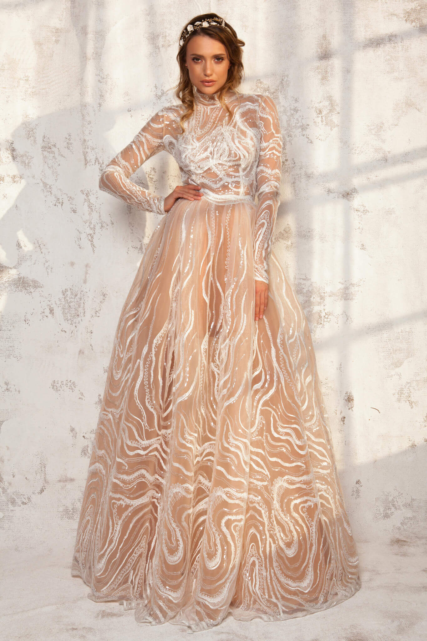 Long Dress From Crinolon Tulle And Lace Louise Aida Lorena Atelier